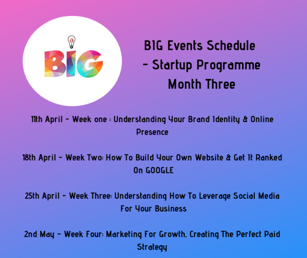 Display 4th march   week one   building the perfect business plan   creating a bmc 21st march   week two  test your ideas  be fearless  don t make assumptions 28th march   week three  adapting your business  makin  1
